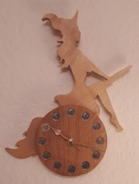 """""""GLAMOROUS WITCH ON A BROOMSTICK"""" made in sycamore and mohogany"""