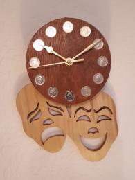 """""""DRAMA MASK CLOCK"""" made in sycamore and mahogany"""